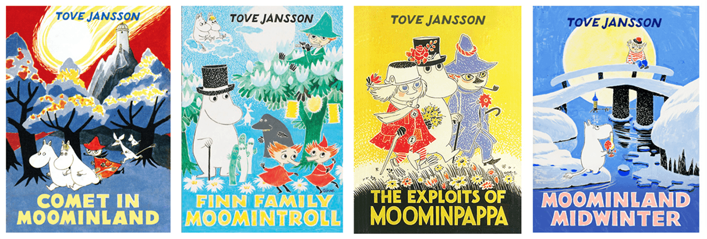 Cute book covers for Tove Janssen's famous Moomin books.