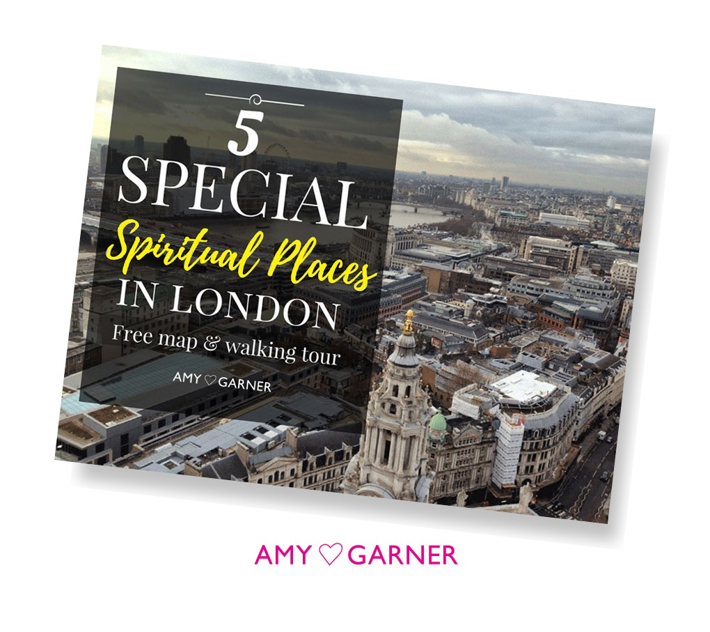 Spiritual shops London postcard of London view showing Amy Garner logo