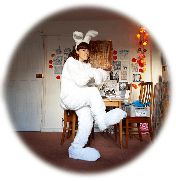change the world without burnout amy dressed as rabbit