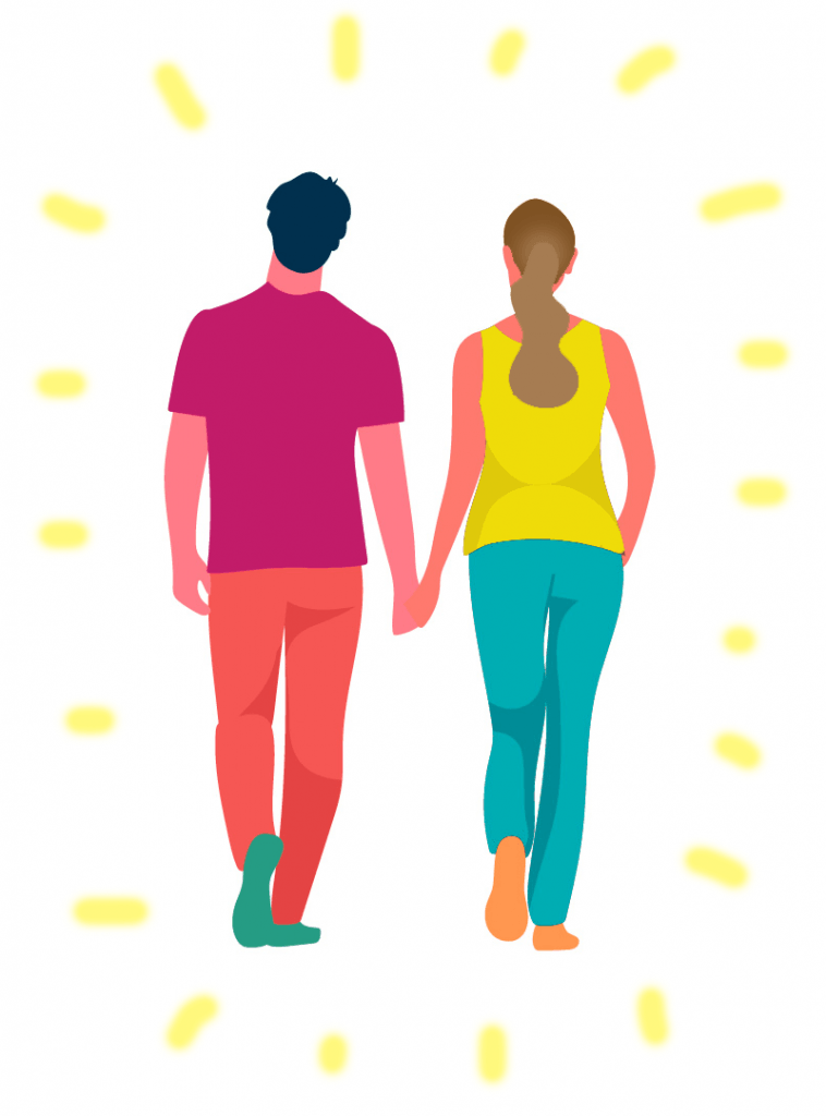 A walking couple with a soul mate connection