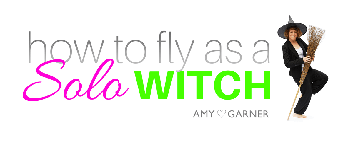 Logo for the solo witch solitary magic guide showing Amy dancing