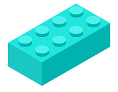 Text break teal lego block