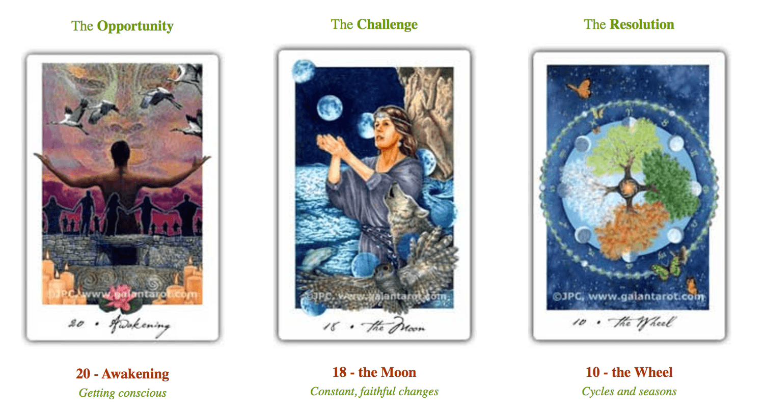 Free online tarot reading by Joanna Powell Colbert showing Gaian Tarot