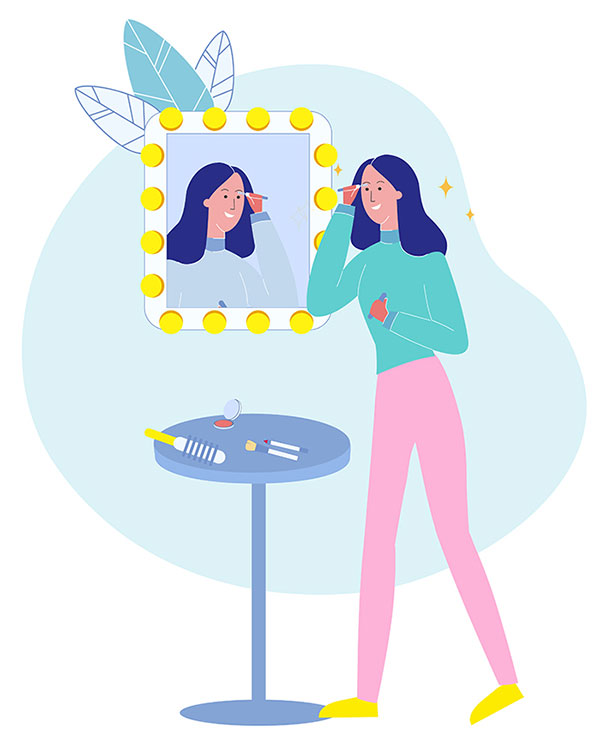 Narcissistic Traits in woman looking in mirror